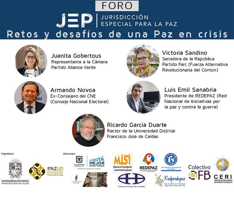 Banner del Foro Jurisdicción Especial para la Paz retos y desafíos de una Paz en crisis
